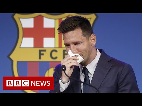 Lionel Messi's tearful farewell to Barcelona – BBC News