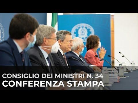 Consiglio dei Ministri n.34: Draghi, Speranza, Bianchi, Giovannini e Gelmini in sala stampa