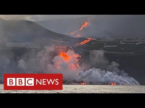 Toxic gas fear as Spanish volcano lava reaches ocean - BBC News